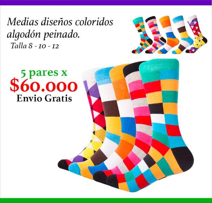 Medias Diseños de Famosos y Coloridos de Moda, Paquete X5