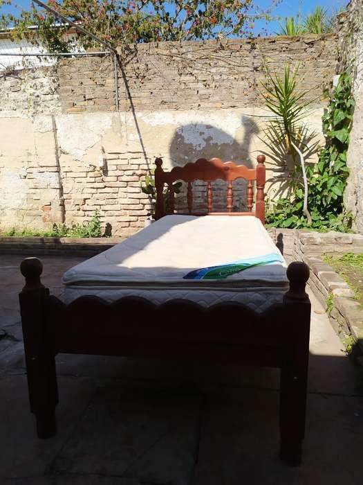 <strong>cama</strong> de Algarrobo de Una Plaza con Colch