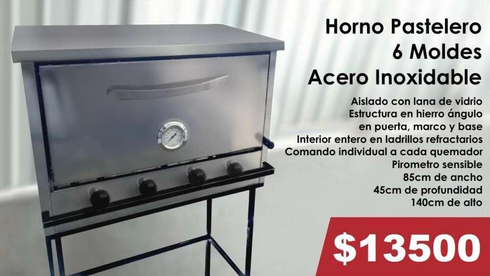 HORNO PASTELERO 6 MOLDES ACERO INOXIDABLE