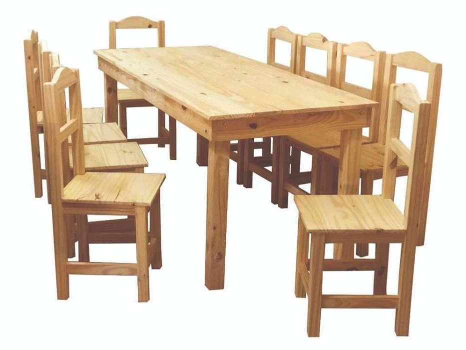 mesa de pino 200x80 10 sillas arco