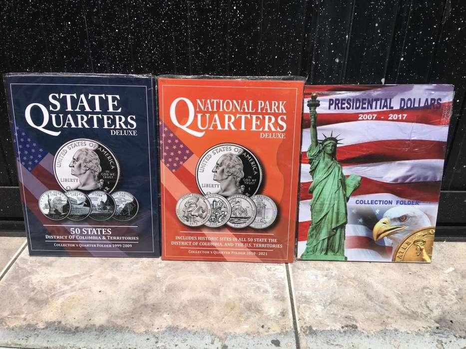 3 album colecionadores de monedas de usa 25 centavos cuartos de dolar y de presidentes