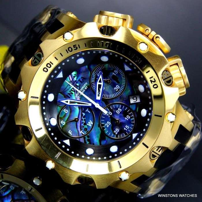 Invicta Venom Hybrid Abalone Chronograph 54mm 18k chapado en oro Reloj negro Nuevo