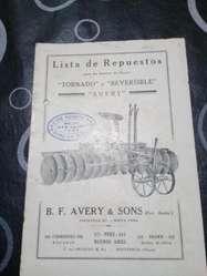 Catálogo De Rastras De Disco Tornado/ Reversible/ Avery