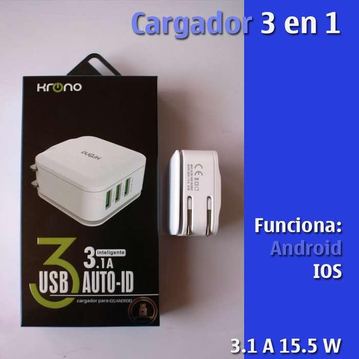 Cargador Tablet Celular Carga Rápida 3 en 1