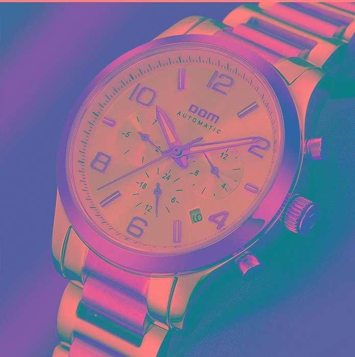 Dom cro para unisex de marca completamente automático mecánico Fina De Acero Reloj Dorado Blanco Zafiro