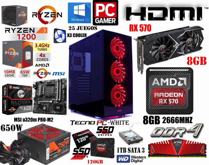 PC GAMER POWER 2 // NUEVA // RYZEN 3 1200 X4 / SSD 120GB / 1TB / 8GB DDR4 / RX 570 8GB / 750w Real