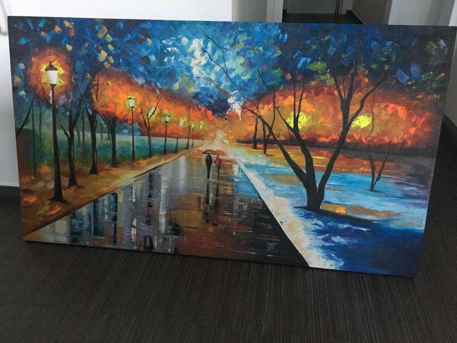 Hermoso cuadro reflejos bajo la lluvia en oleo de 160x90