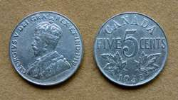Moneda de 5 cents de plata, Canadá 1914