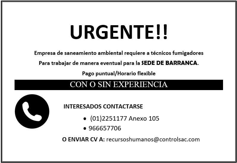 OPERARIOS DE FUMIGACIÓN SEDE BARRANCA
