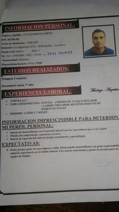 Busco Trabajo Soy Chofer de Camion..