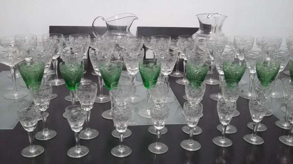 Juego de copas de cristal, antiguas