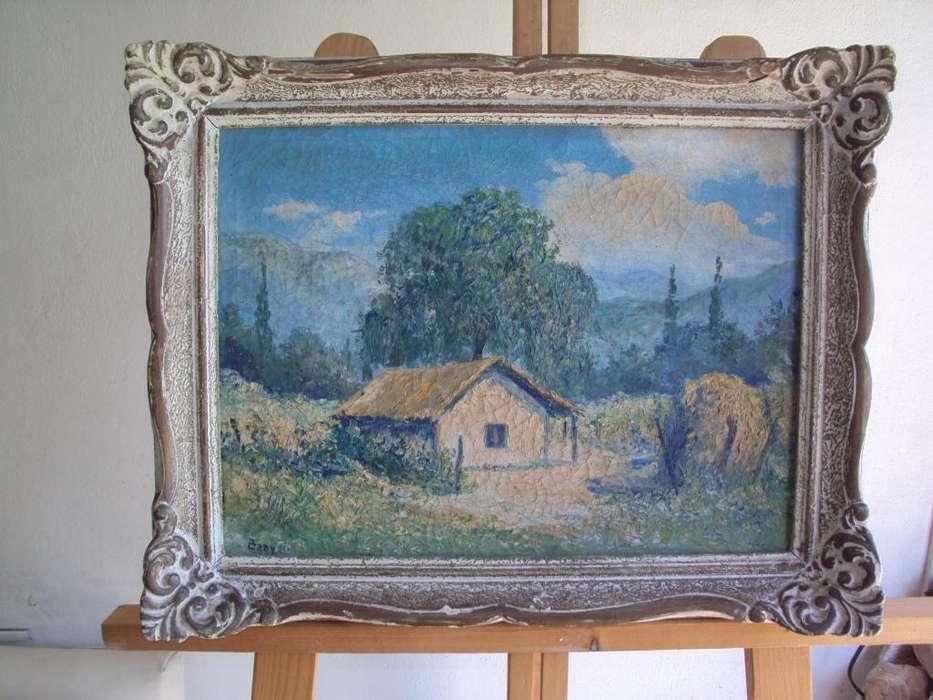 Cuadro antiguo marco de madera oleo