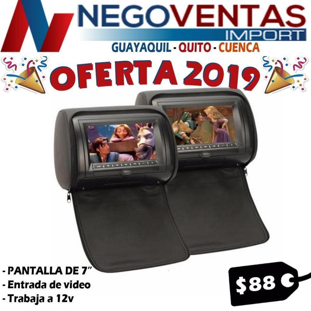 CABECERAS MONITORA PARA CARRO 7PULG VARIOS COLORES INCLUYE  2 PANTALLAS