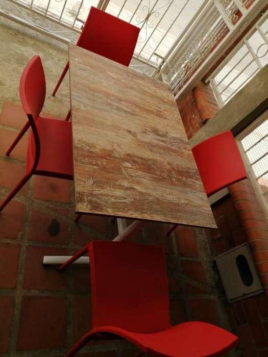 mesa 4 puestos sillas comodas y finas