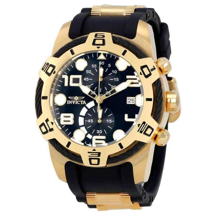 Reloj Hombre Invicta Bolt Gold Black Enchape Dorado 24218