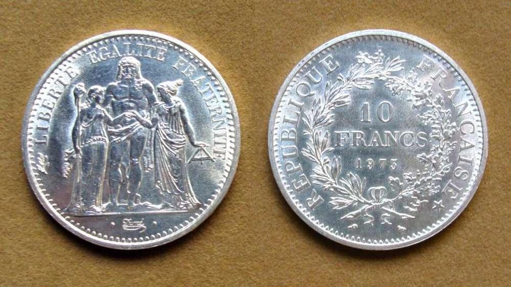 Moneda de 10 francos de plata Francia año 1973