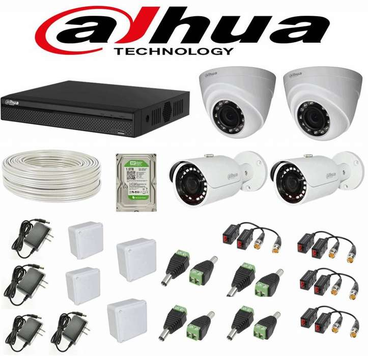 Kit de 4 Camaras de seguridad Dahua Full Hd de 2 Megapixeles Dvr de 4 Canales 1080p .TIENDA EXONICA