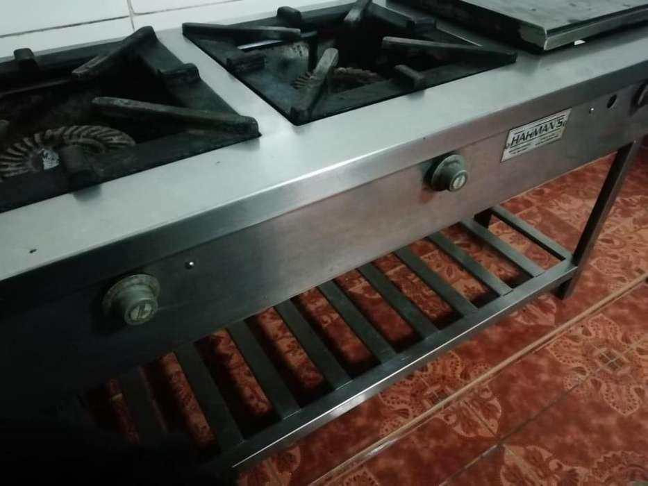 Cocina Industrial 2 Hornillas y Plancha en Acero Inox. Usada