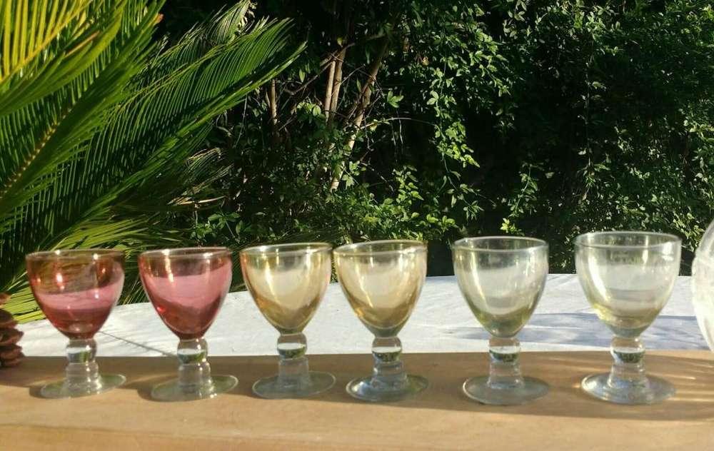 Juego De 6 <strong>copas</strong> De Cogñac Cristal Iridiscente