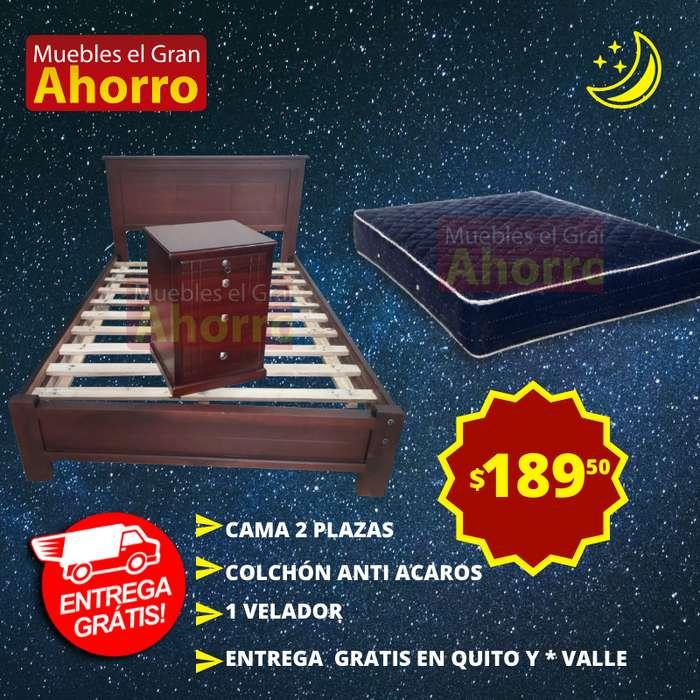 *COMBO* Cama 2 Plazas, Colchón 2 Plazas, 1 Velador ,y ENTREGA GRATUITA