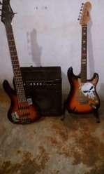 Guitarra Y bajo con Amplificadoy
