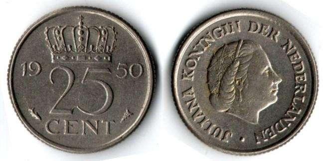 HOLANDA. MONEDA. 25 CENT. 1950. KM 183. 38,4 M UNIDADES. ESTADO 7 DE 10. VALOR 11200