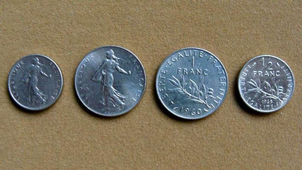 Monedas de ½ y 1 franco Francia 1965 - 2000