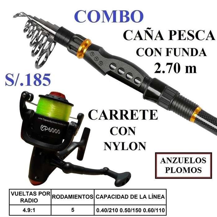 Caña de Pesca Telescópica 2.70 M Carrete, Nylon, Anzuelos Y Plomo Pescar