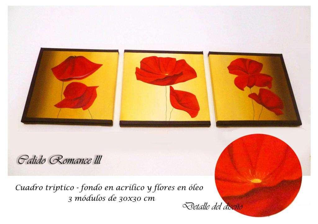 cuadros decorativos pintados a mano totalmente artesanales florales tripticos polipticos en acrilico y oleo amapolas