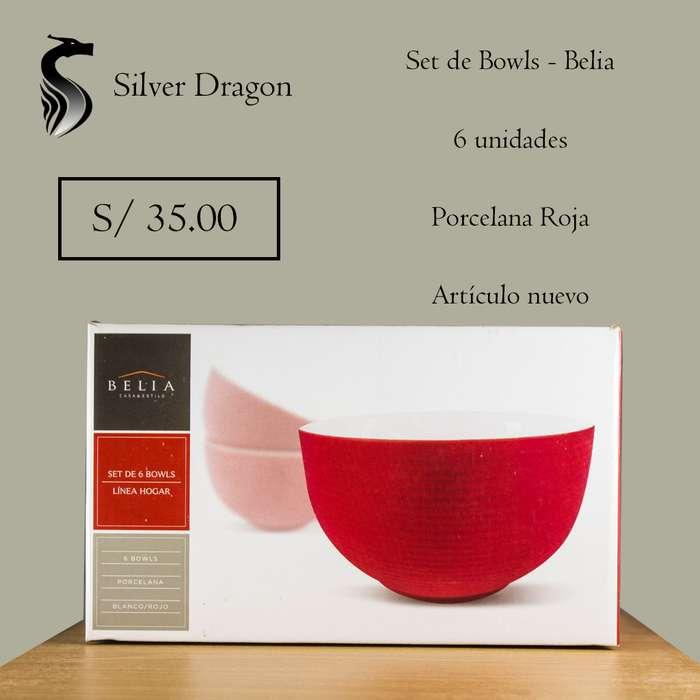 Set de Bolws Porcelana Roja Belia