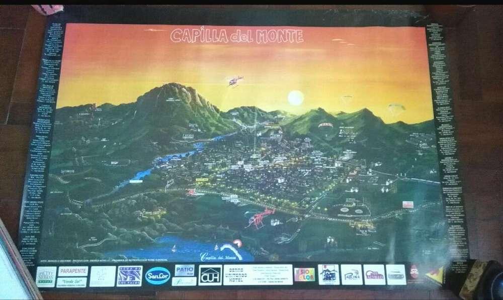 Mapa Ilustrado Afiche de Capilla Del Monte . Cordoba 100 x 60cm