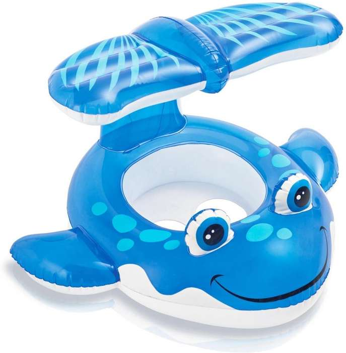 Flotador Para Bebé Con Techo Ballena Azul Intex 56593