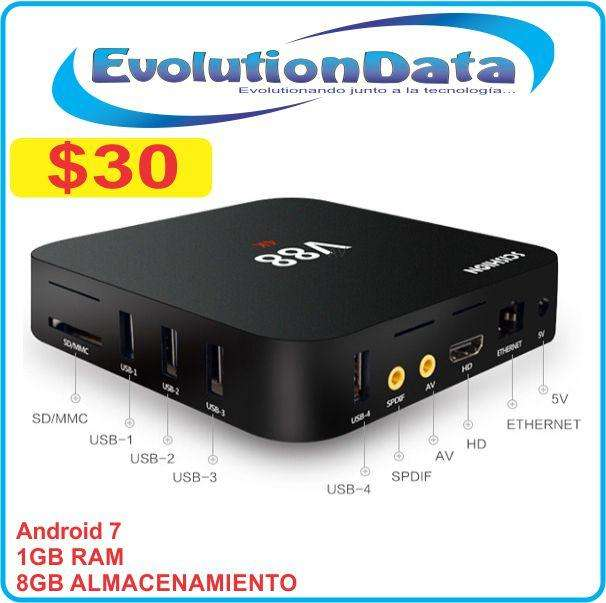 Tv BOX Android 7 Modelo V88 1GB RAM 8GB Almacenamiento Smart TV