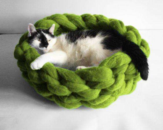 Canasta tejida para <strong>gato</strong>s o mascoTa pequeña, Cesta O camita tejida manualmente.