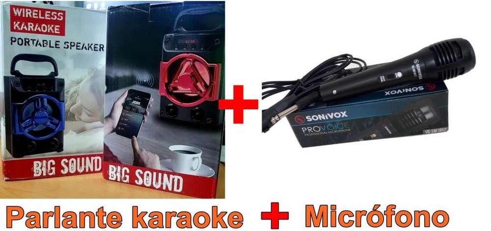 Parlante karaoke inalámbrico portátil de gran sonido más micrófono