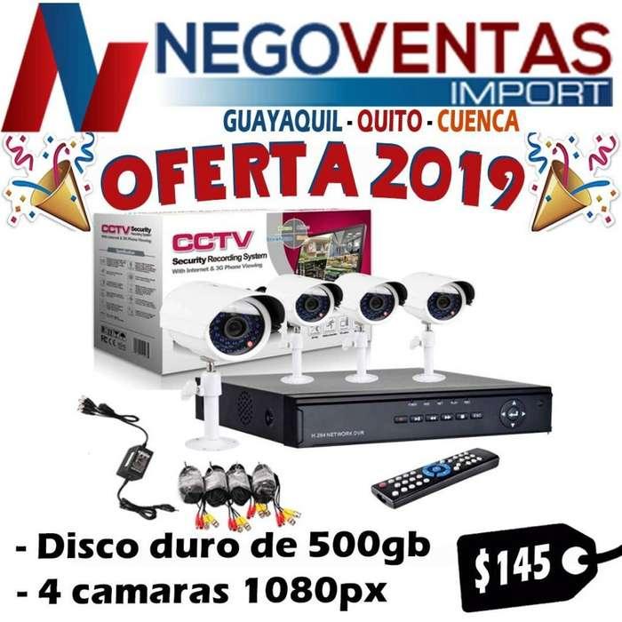 KIT DE 4 CÁMARAS DE SEGURIDAD CON DVR Y DISCO DURO DE 500 GB CABLEADO