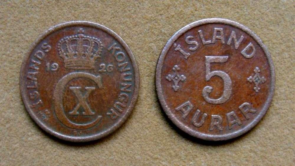 Moneda de 5 aurar Islandia 1926
