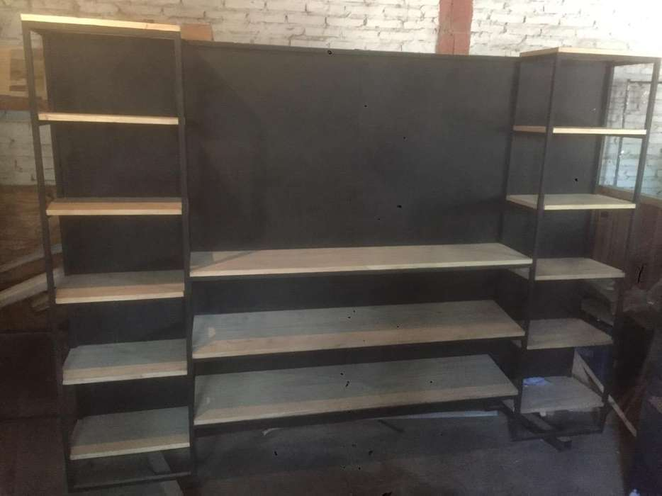 Rack Tv de Hierro Y Madera