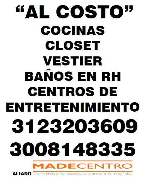 COCINAS INTEGRALES, CLOSET, PUERTAS AL COSTO TEL.3087830 WP 3157034064