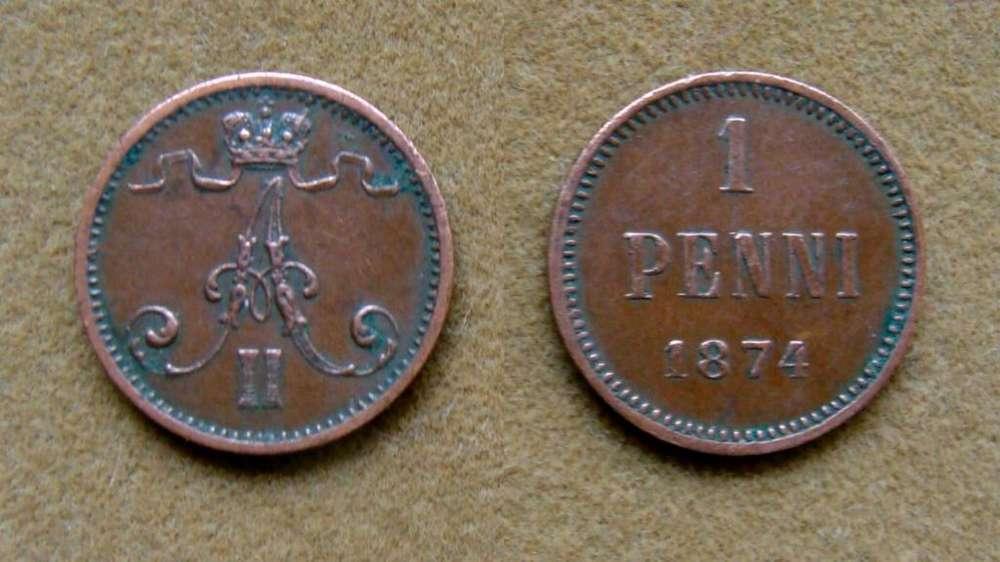 Moneda de 1 penni Finlandia dominación rusa 1874