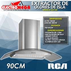 Campana Extractor De Olores De Isla 90 Cm RCA Vidrio Curvo