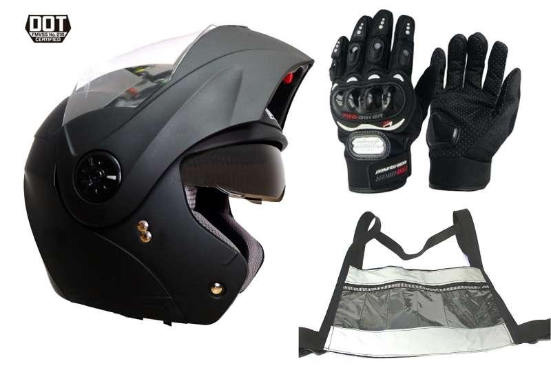 Casco moto abatible Doble Visor Certificado Ich mas guantes y chaleco Gratis