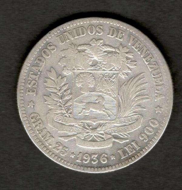 Venezuela 1936 FUERTE 5 Bolivares 90 Silver Coin 25 Grams