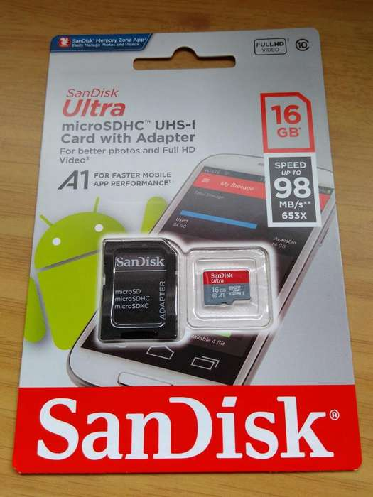 micro sd sandisk 16 gb UHS1 clase 10