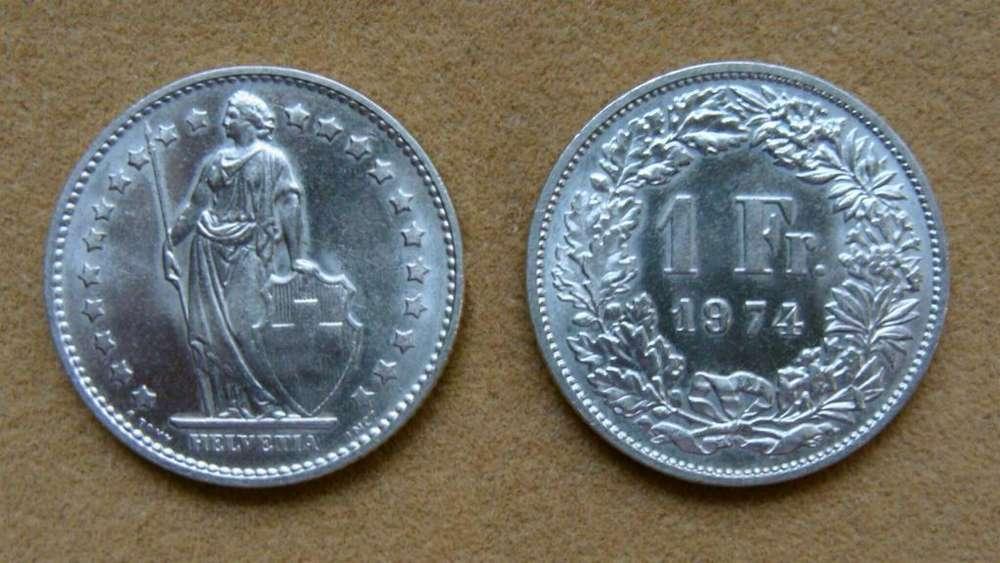 Moneda de 1 franco Suiza 1974