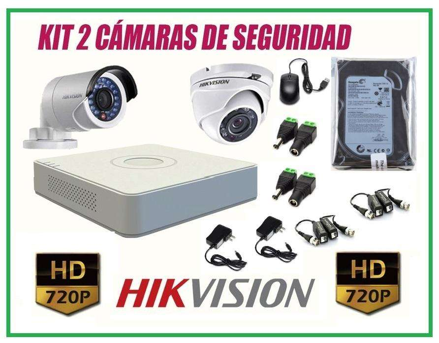 Cámaras Seguridad HikVision Kit 2 HD 720p disco 500gb COMPLETO