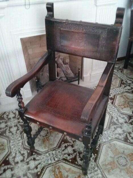 <strong>silla</strong> Colonial Cuero Grabados