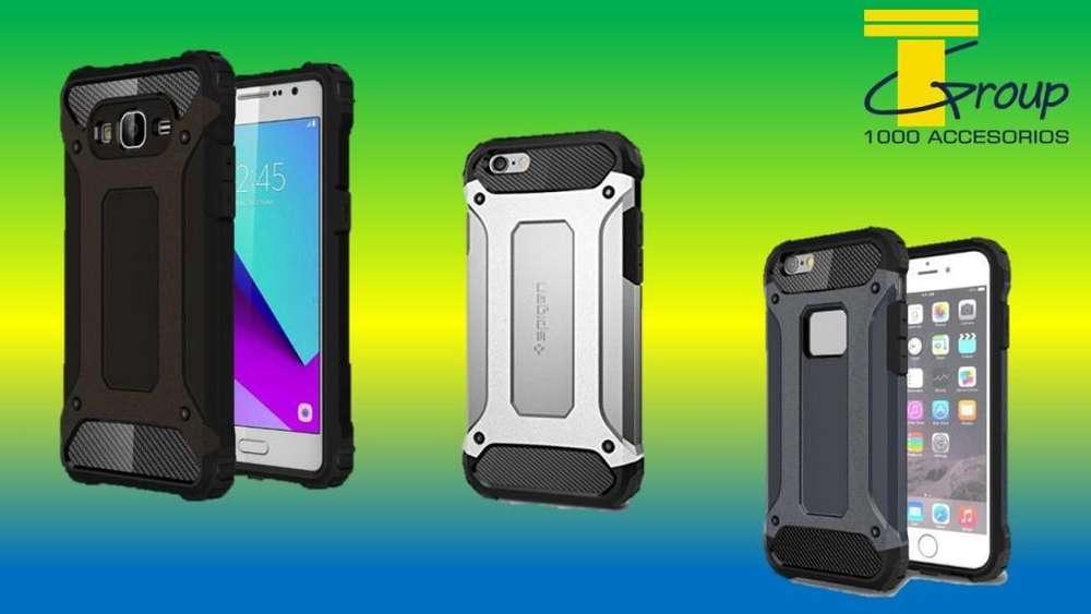 Estuche Doble Tipo Spigen Samsung S8 S9 Plus A7 2017 J5 J7 Pro S7 Huawei P10 Mate 10 Lite IPhone 7 8