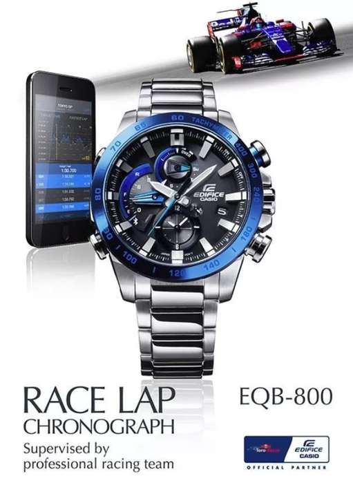 Reloj Casio Edifice Eqb-800db-1a Race Lap Bluetooth F1 Toro Rosso