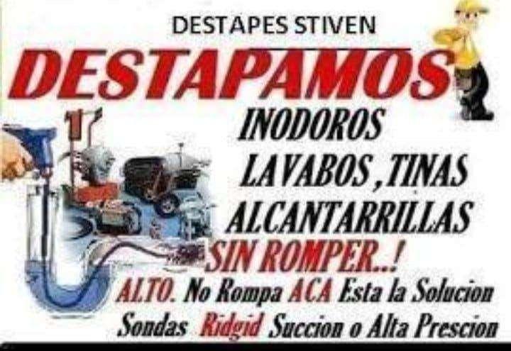 TECNI DESTAPES DE CAÑERIAS SIN ROMPER CAJAS INODOROS FREGADEROS BAJANTES PLOMERO EN FUGAS DE COBRE PVC 0984640849